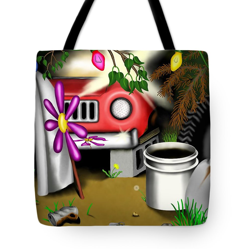 Surrealism Tote Bag featuring the digital art Garden Landscape I - Into The Trailorpark by Robert Morin