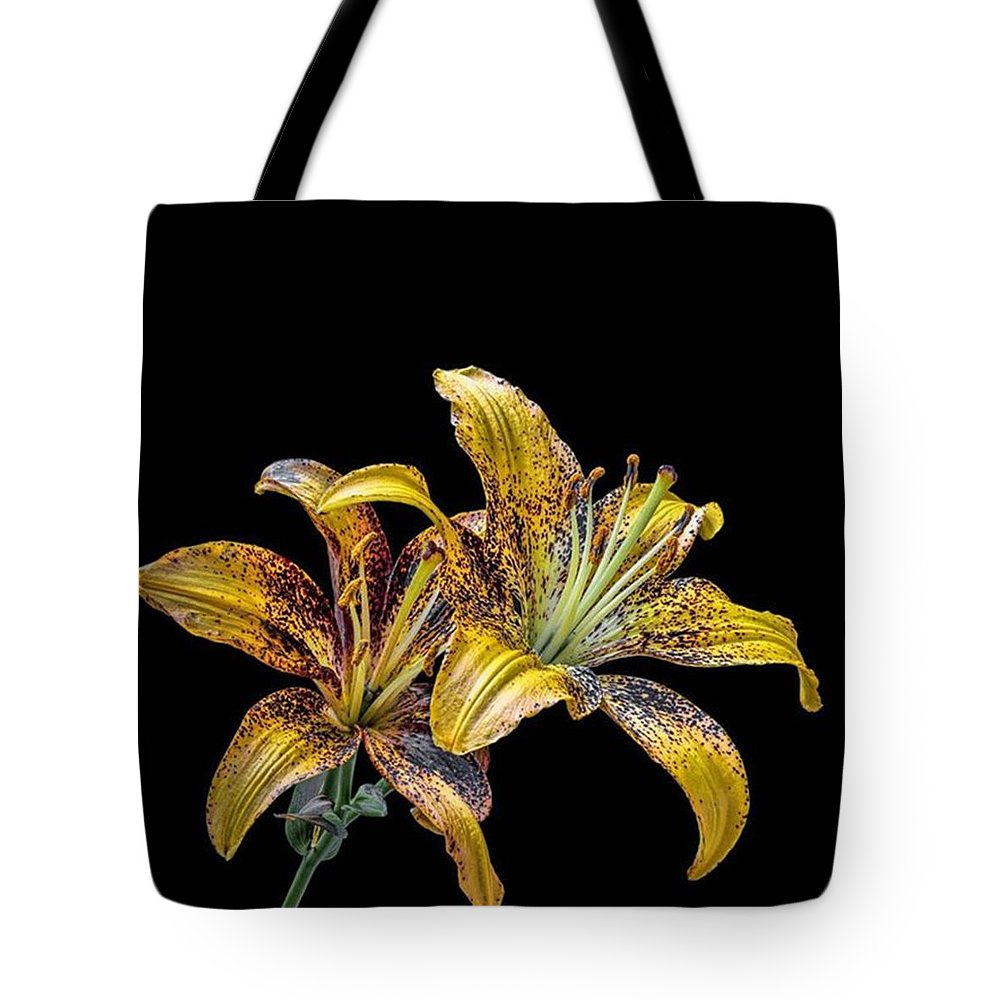 Garden lilies dtma lily flowers tote bag for sale by andrey suchkov macroperfection tote bag featuring the photograph garden lilies dtma lily flowers by izmirmasajfo