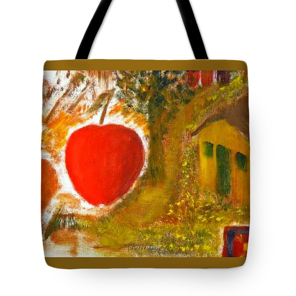Abstract Apple Adam Ave Tote Bag featuring the painting Garden of Eden by R B