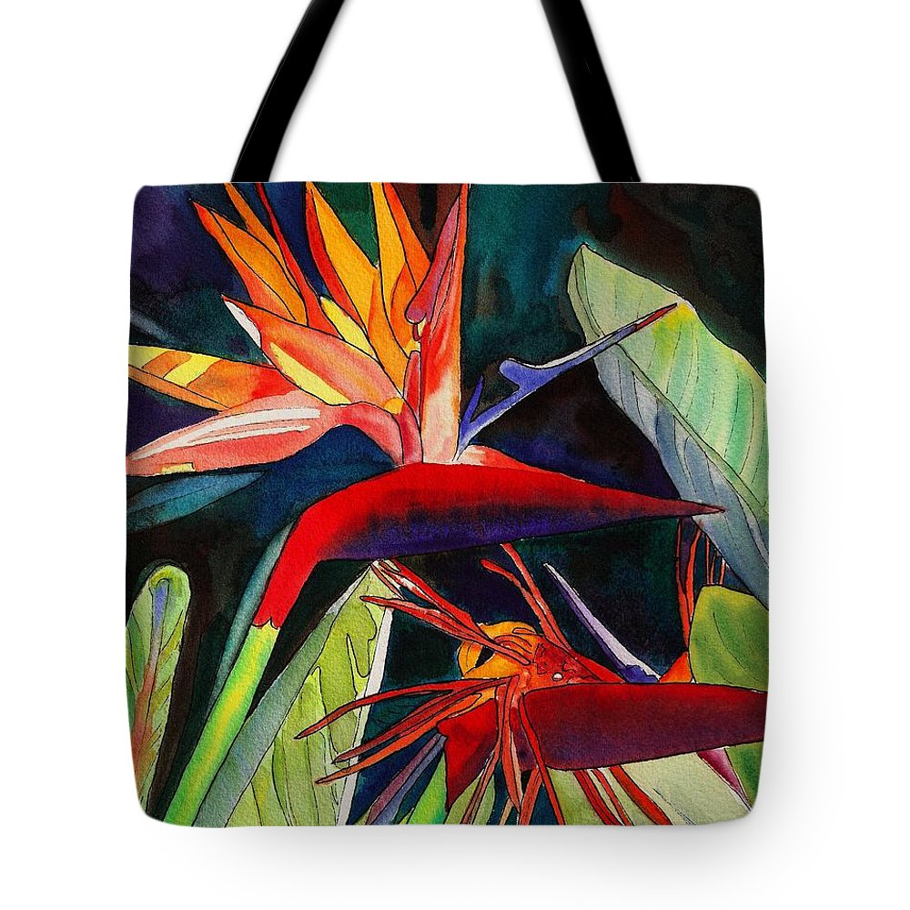 Bird Tote Bag featuring the painting Garden Of Paradise by Marionette Taboniar