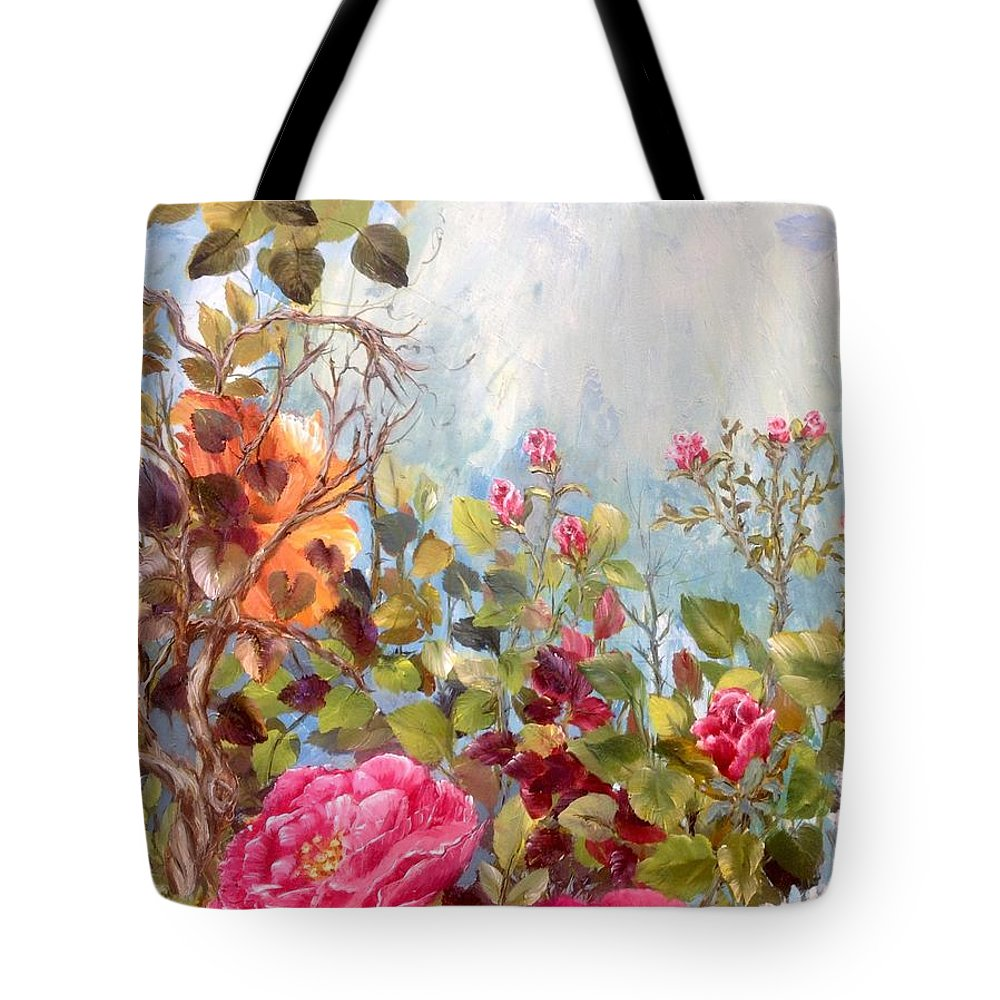 Roses Tote Bag featuring the painting Garden Party/left Portion by Barbie Carter