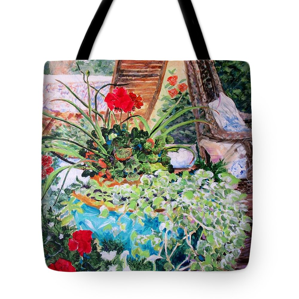 Wicker Tote Bag featuring the painting Garden Party by Susan Jacobsen