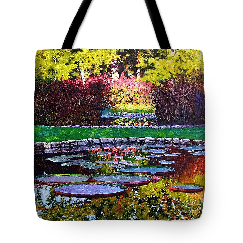 Garden Ponds Tote Bag featuring the painting Garden Ponds - Tower Grove Park by John Lautermilch