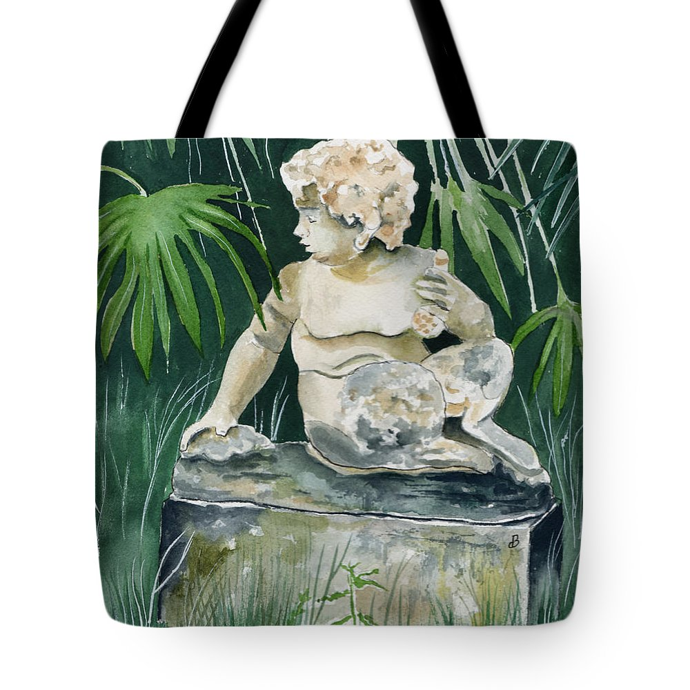 Watercolor Tote Bag featuring the painting Garden Satyr by Brenda Owen