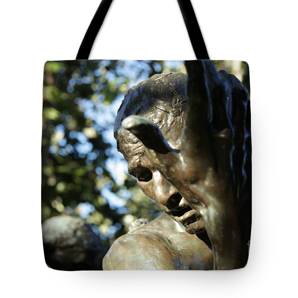 Sculpture Tote Bag featuring the painting Garden Sculpture by Dean Triolo