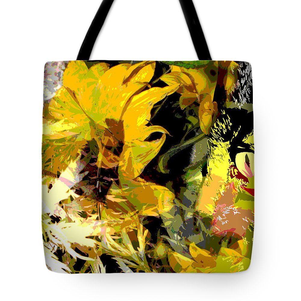 Abstract Tote Bag featuring the mixed media Garden Variety Cat by Ruth Palmer