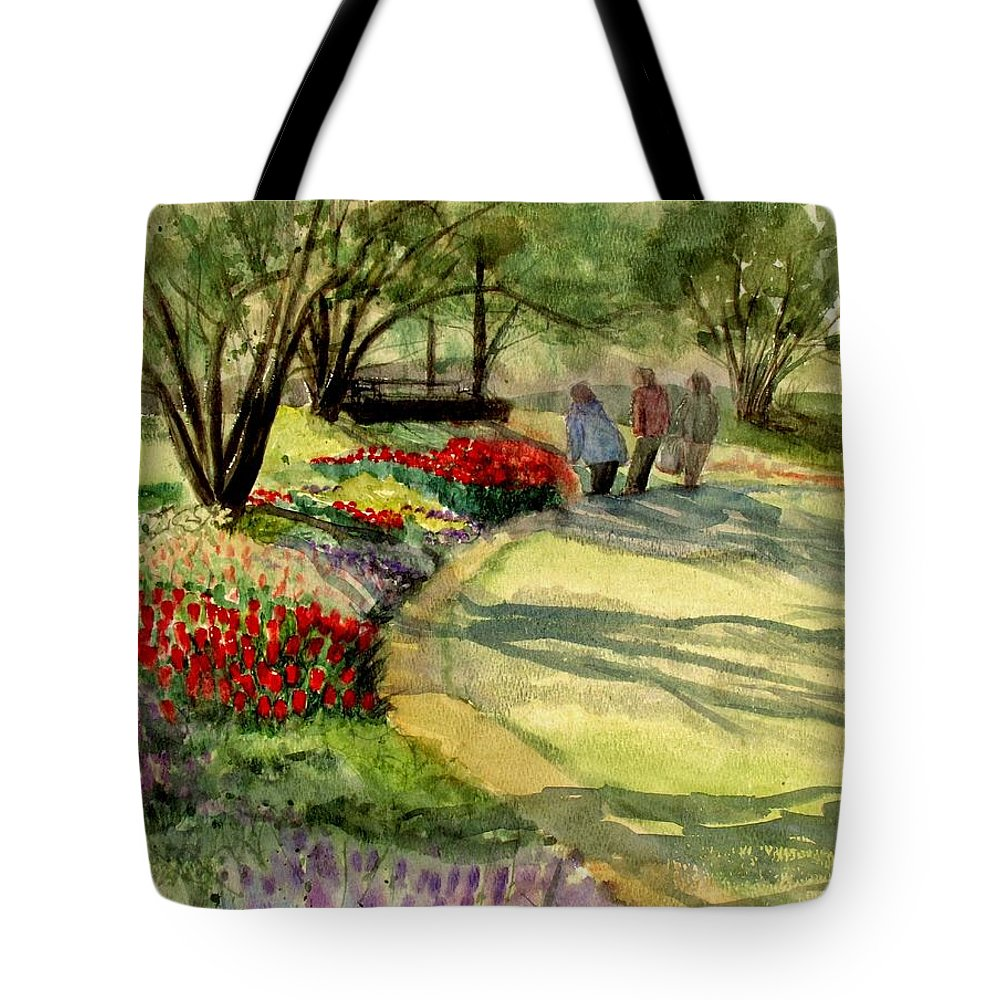 Flowers Tote Bag featuring the painting Garden Walk by Marilyn Smith