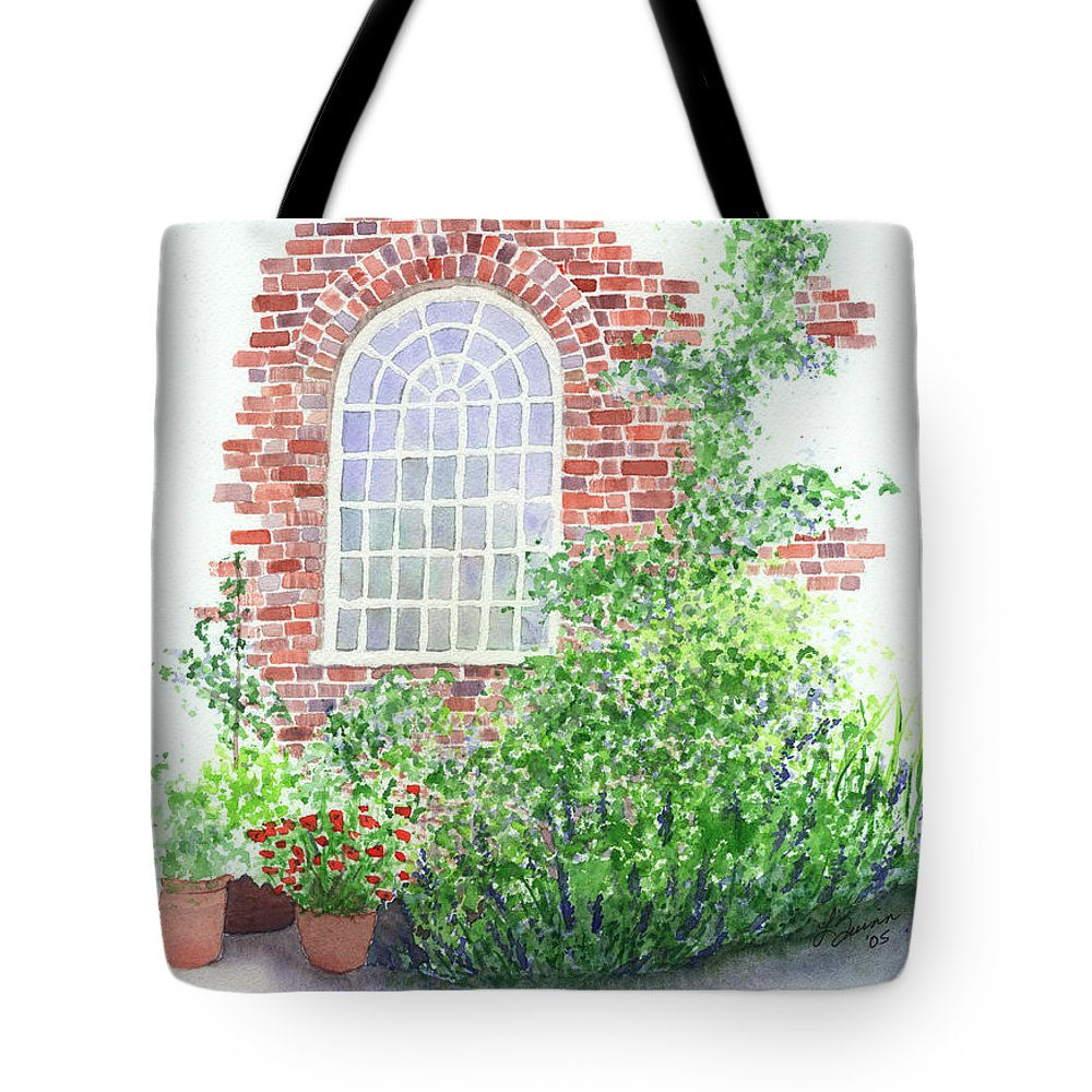 Window Tote Bag featuring the painting Garden Wall by Lynn Quinn