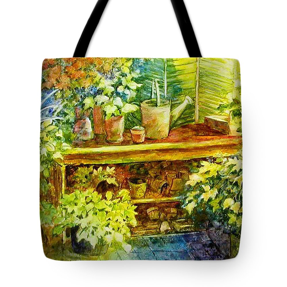 Greenhouse;plants;flowers;gardener;workbench;sprinkling Can;contemporary Tote Bag featuring the painting Gardener's Joy by Lois Mountz