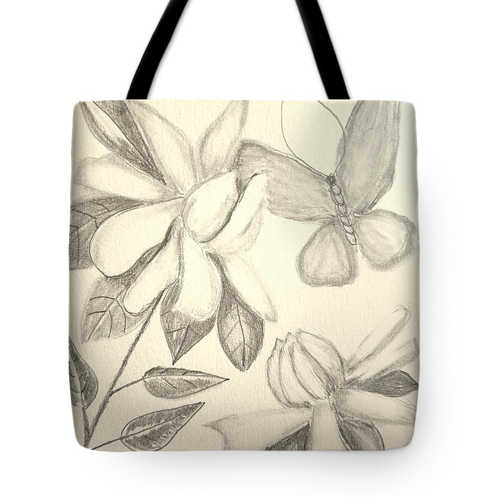 Gardenia Drawing Tote Bag featuring the drawing Gardenia Drawing 1 by Maria Urso