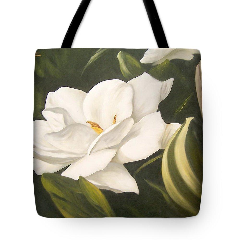 Gardenia Flower Tote Bag featuring the painting Gardenia by Natalia Tejera