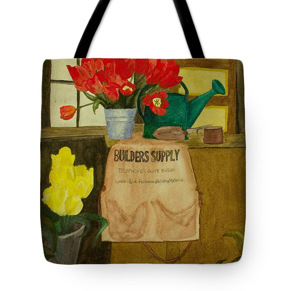 Tulips Tote Bag featuring the painting Gardner by Louise Magno