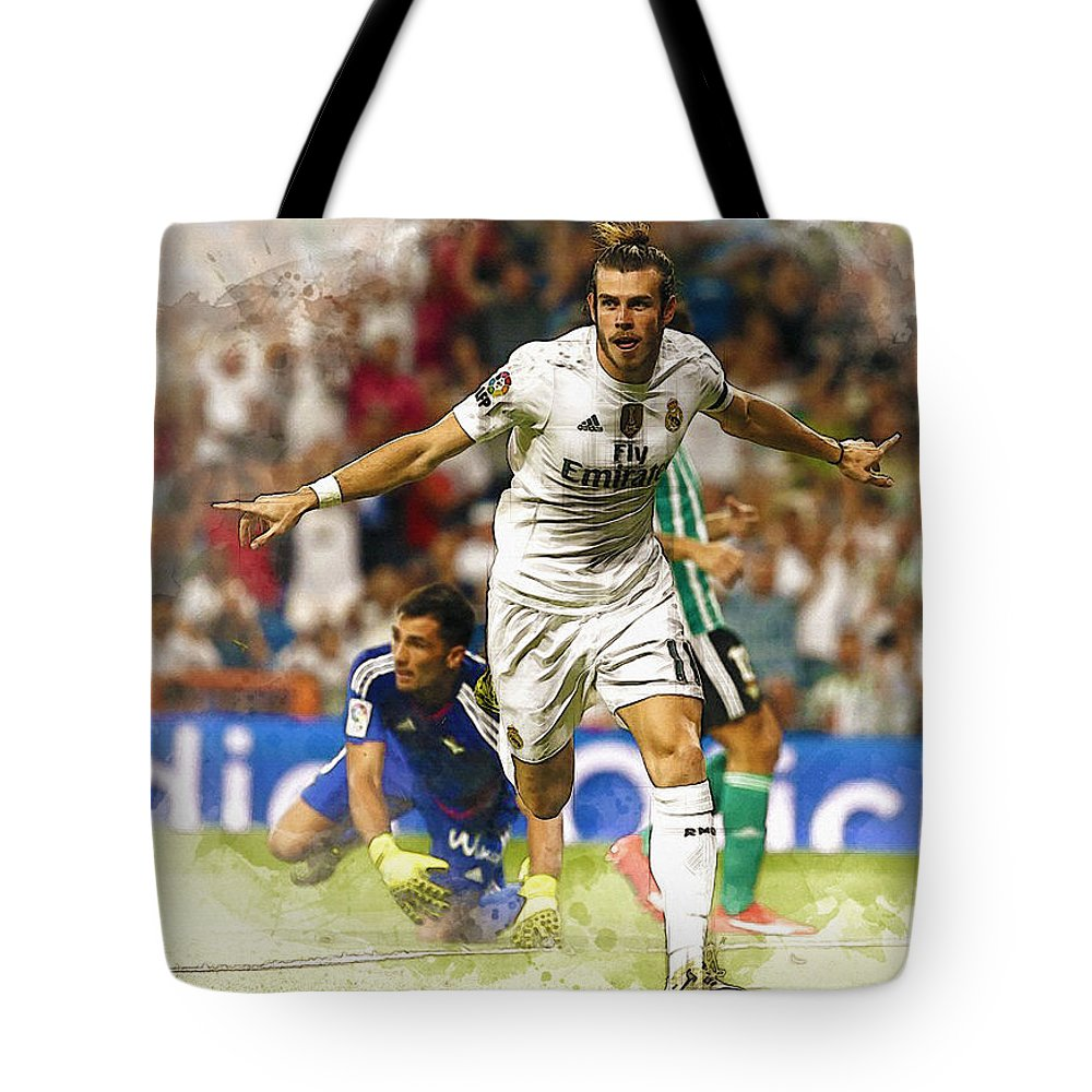 Uefa Chamipons League Tote Bag featuring the digital art Gareth Bale Celebrates His Goal by Don Kuing