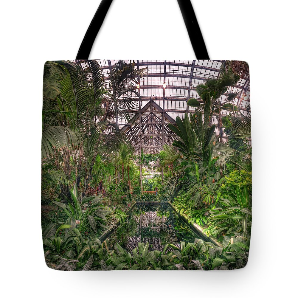 Greenhouse Tote Bag featuring the photograph Garfield Park Conservatory Reflecting Pool by Steve Gadomski