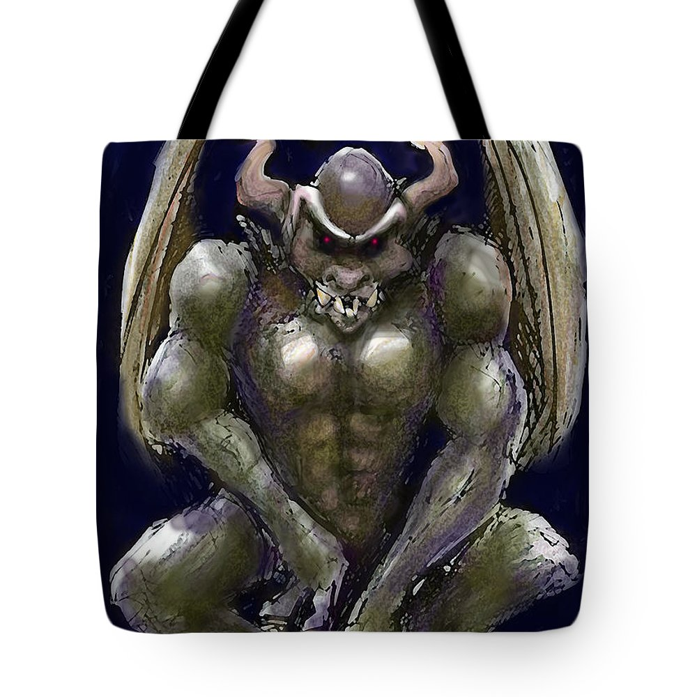 Gargoyle Tote Bag featuring the greeting card Gargoyle by Kevin Middleton