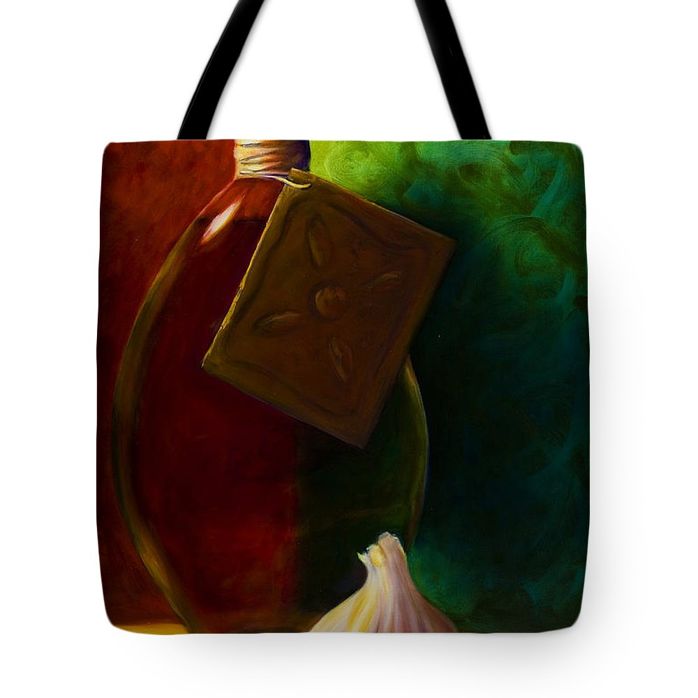 Shannon Grissom Tote Bag featuring the painting Garlic And Oil by Shannon Grissom