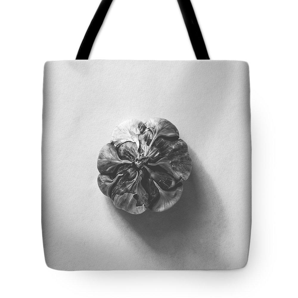 Autumn Art Tote Bag featuring the photograph Kitchen Decor - Garlic Envelope In Monochrome by Kate Morton