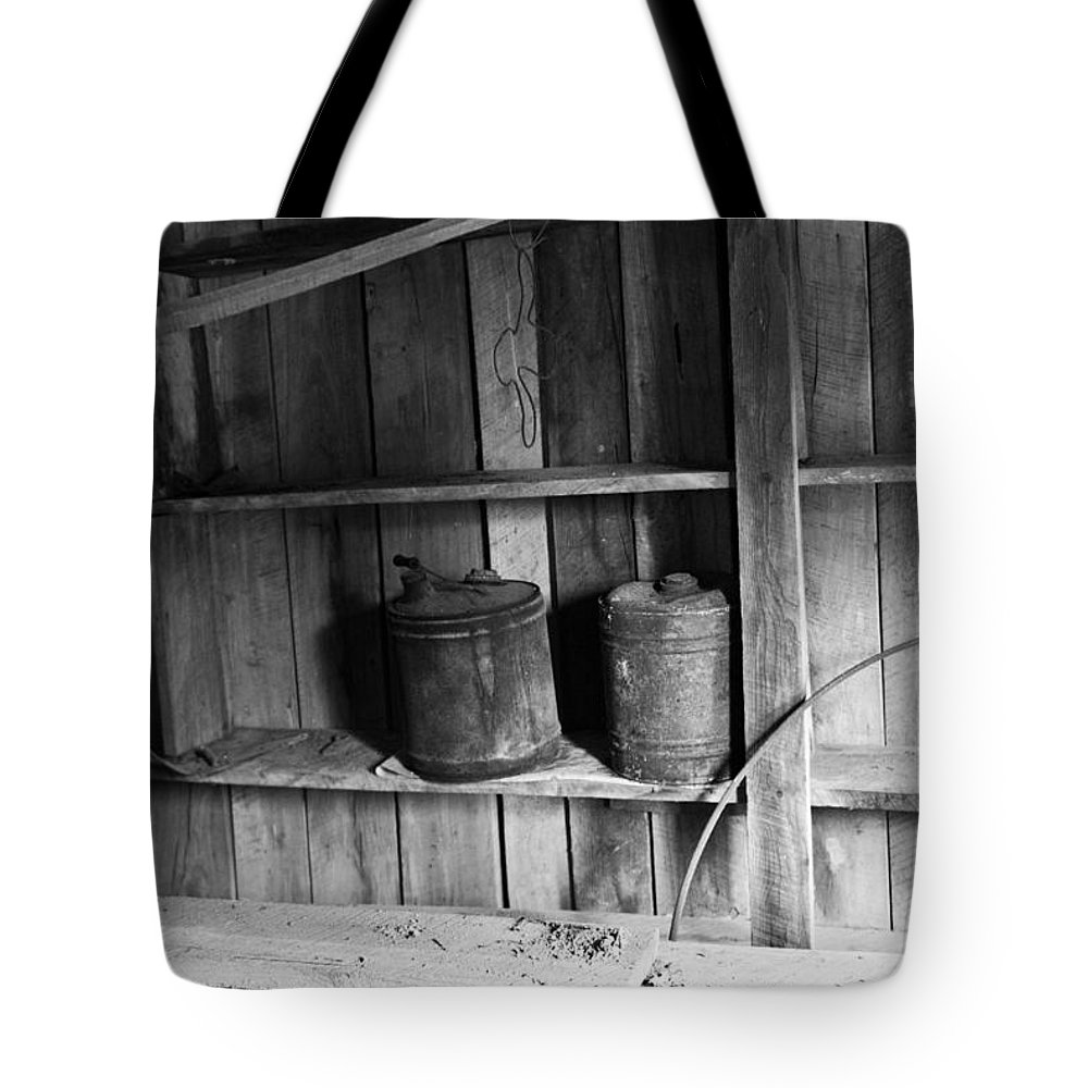 Gas Tote Bag featuring the photograph Gas Cans by Douglas Barnett