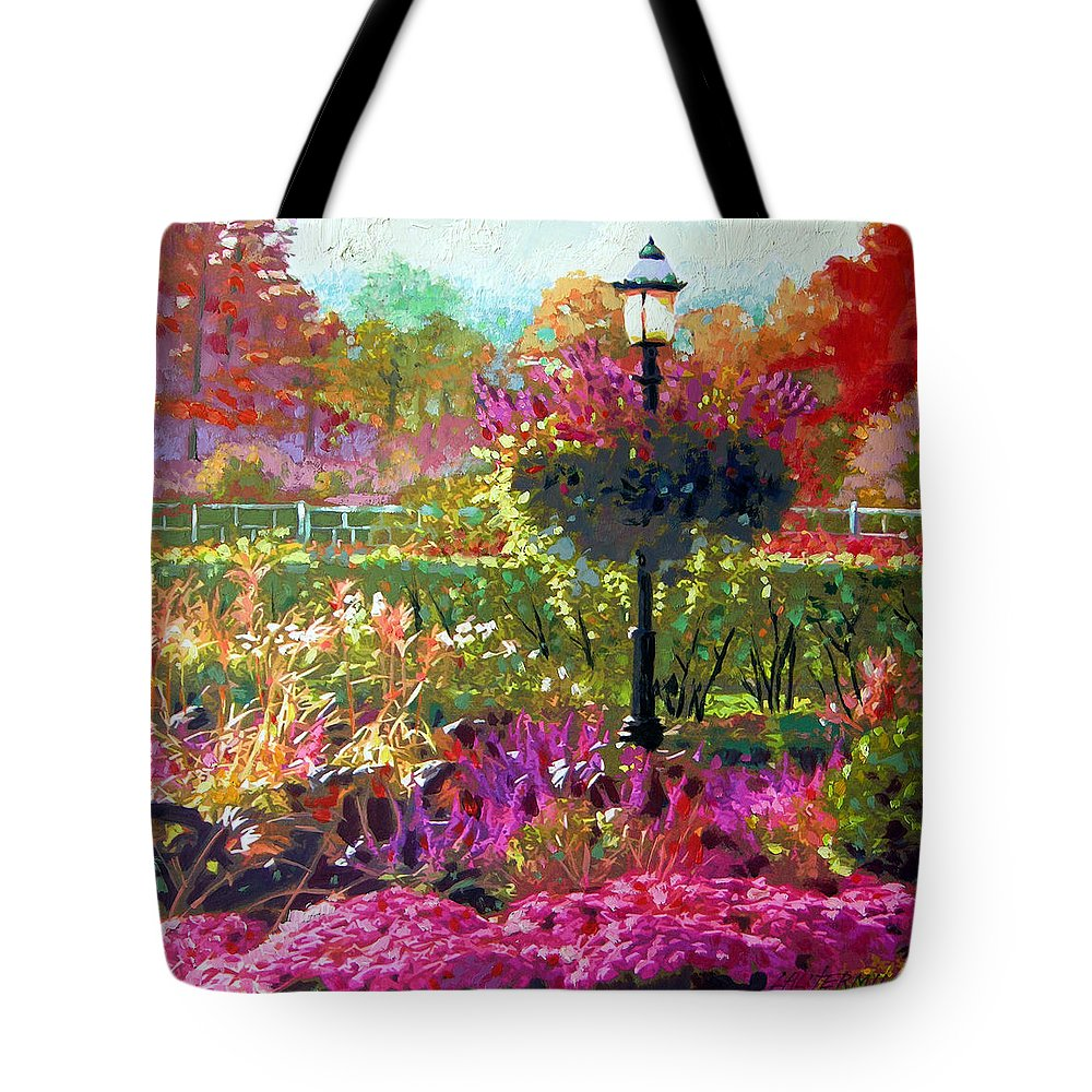Landscape Tote Bag featuring the painting Gas Light In The Garden by John Lautermilch