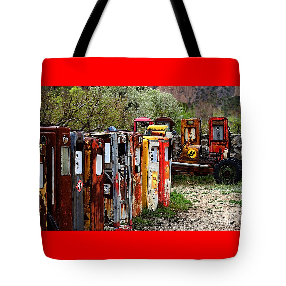 New Mexico Tote Bag featuring the photograph Gas Pump Conga Line In New Mexico by Catherine Sherman