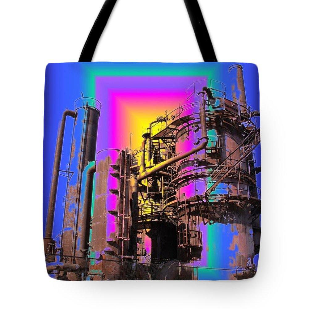 Seatttle Tote Bag featuring the digital art Gasworks Park 2 by Tim Allen