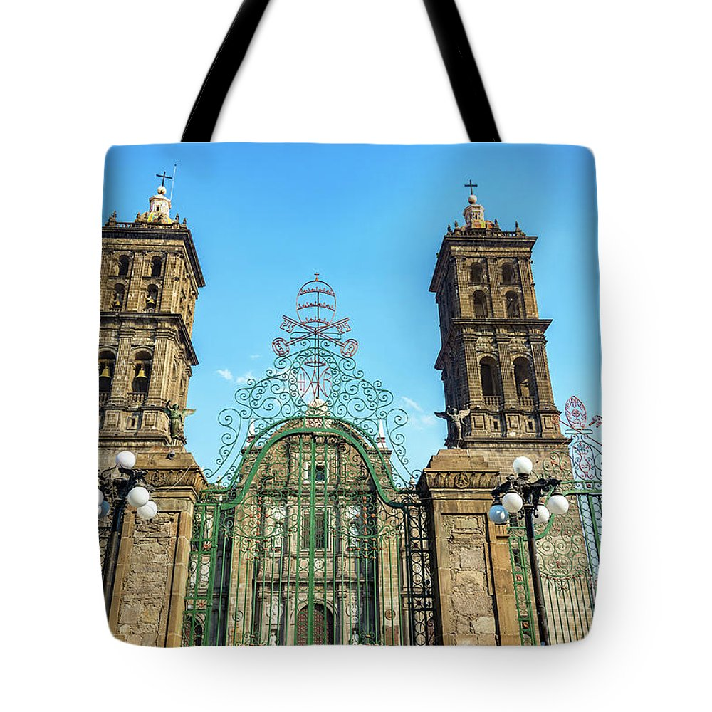 Puebla Tote Bag featuring the photograph Gate And Cathedral by Jess Kraft
