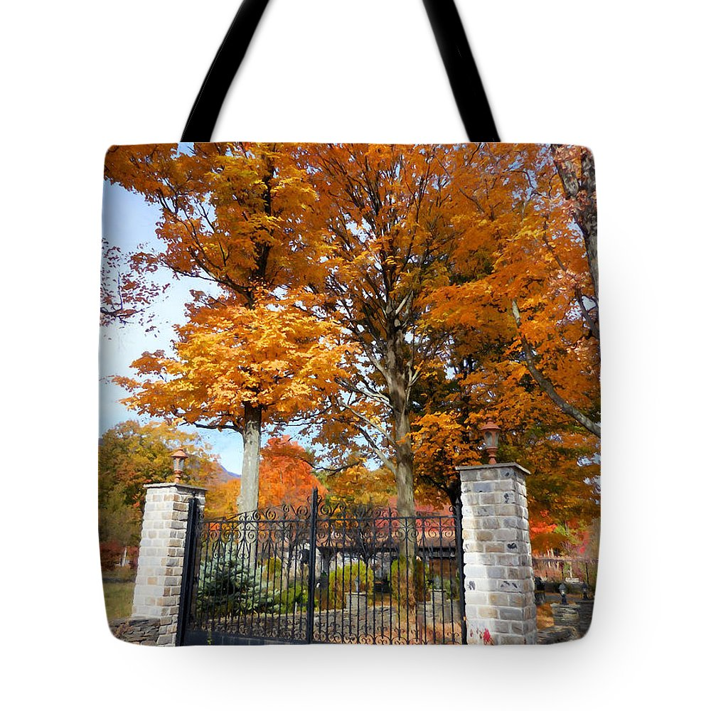 Gate And Driveway Tote Bag featuring the painting Gate And Driveway by Jeelan Clark