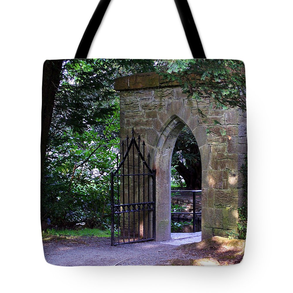 Irish Tote Bag featuring the photograph Gate At Cong Abbey Cong Ireland by Teresa Mucha