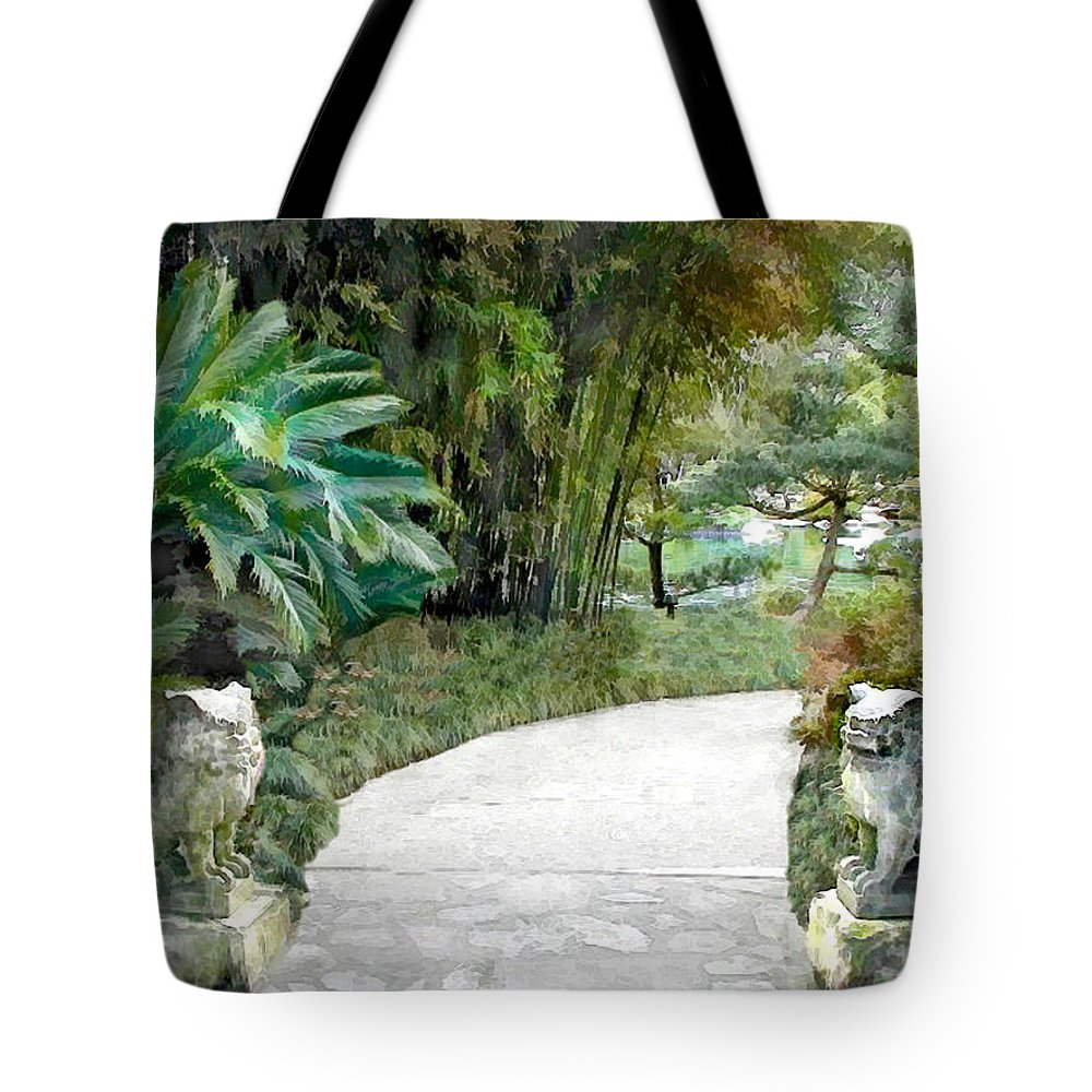 Japanese Garden Tote Bag featuring the painting Gate Guards Against Evil Spirits by Elaine Plesser