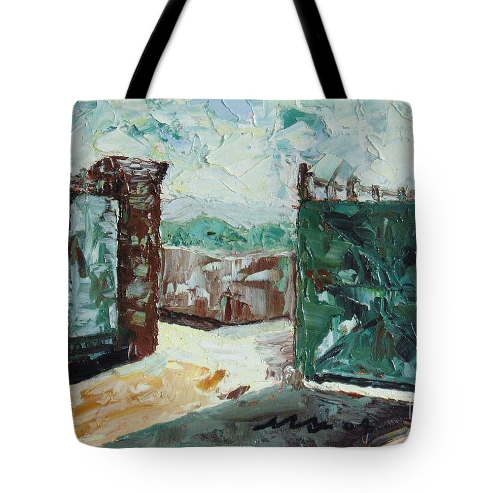 Gate Oil Canvas Tote Bag featuring the painting Gate2 by Seon-Jeong Kim