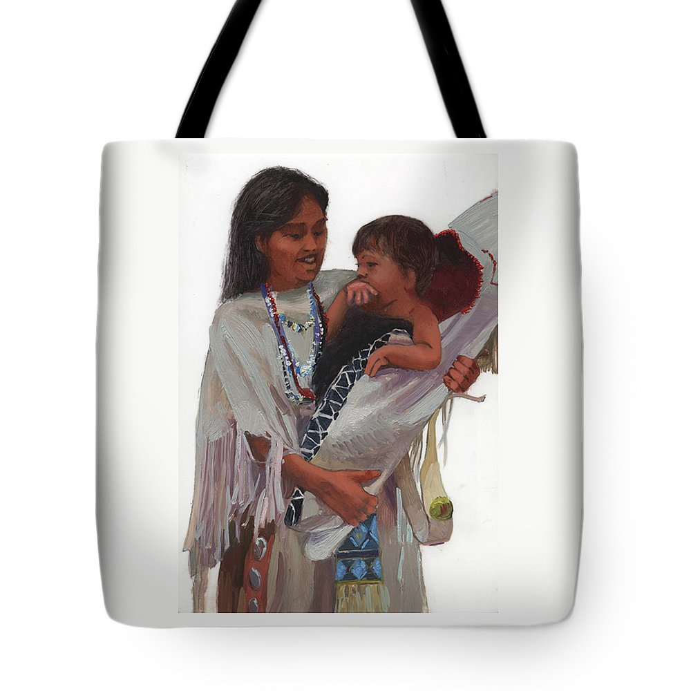 Miniatures Tote Bag featuring the painting Gathered Tenderness by Betty Jean Billups