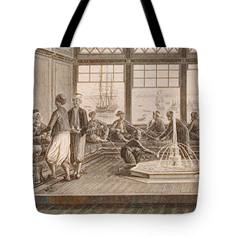 Gathering At Ottoman Mansion Tote Bag featuring the painting Gathering At Ottoman Mansion by Eastern Accents