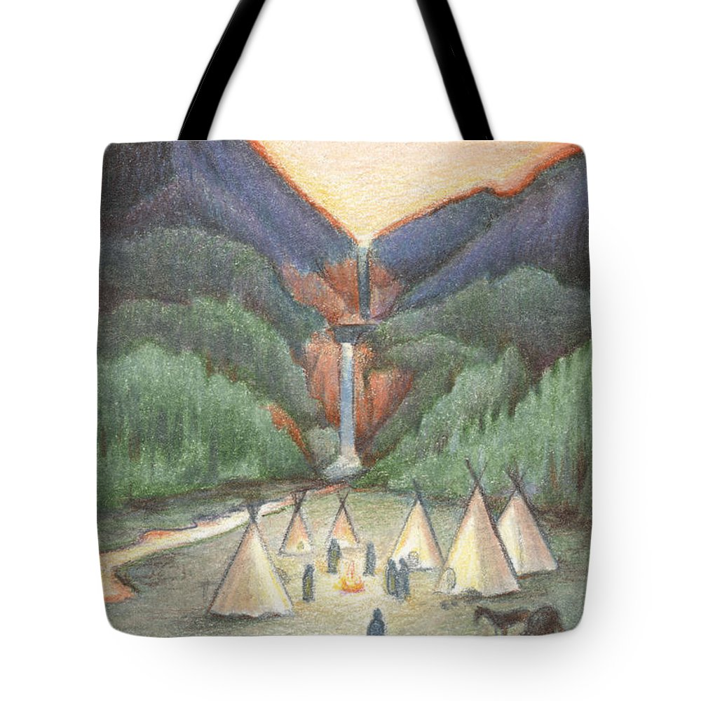 Atc Tote Bag featuring the drawing Gathering At The Falls by Amy S Turner