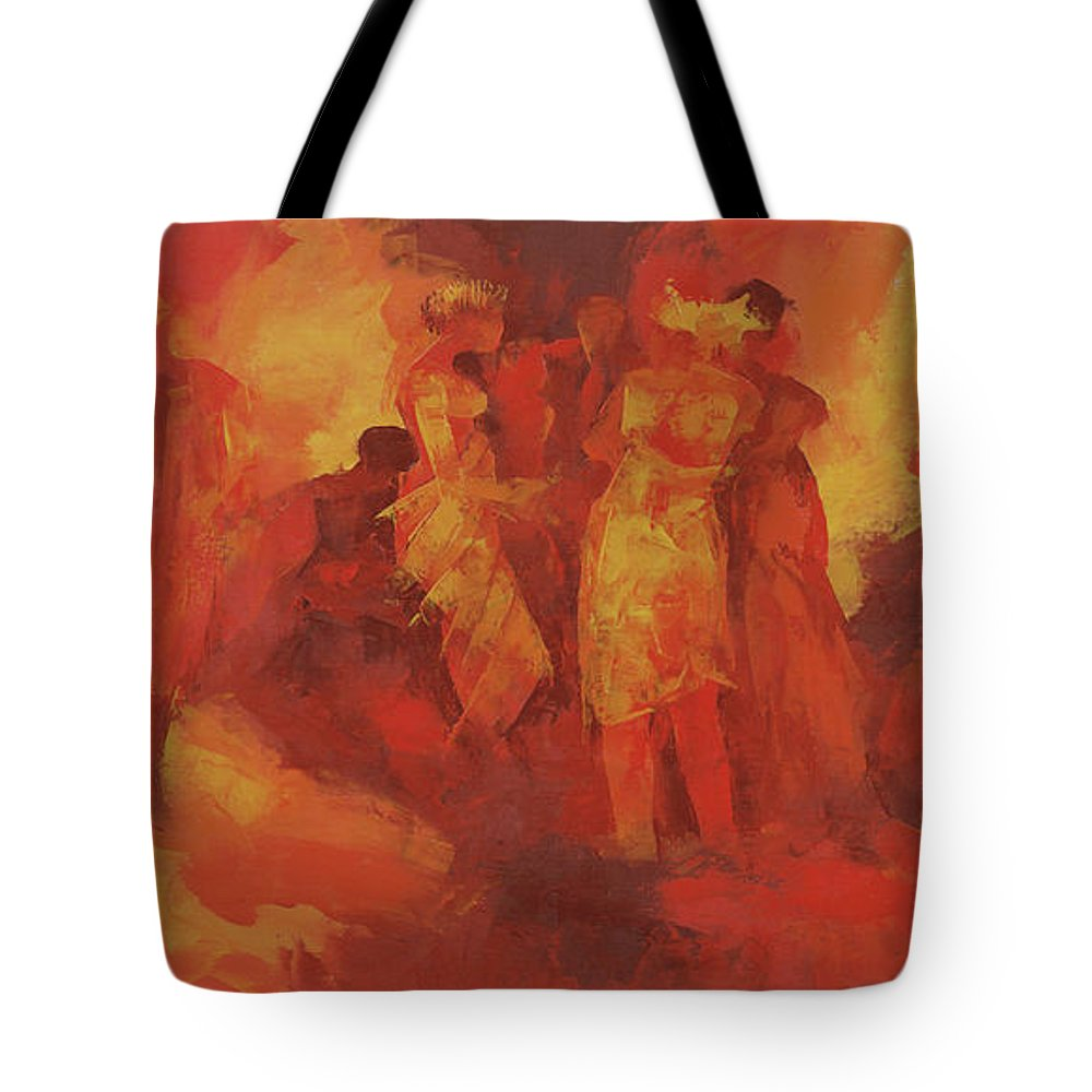 Gathering Tote Bag featuring the painting Gathering by Bayo Iribhogbe