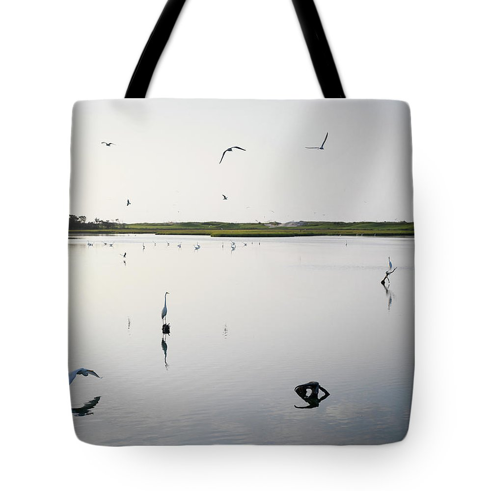 Egret Tote Bag featuring the photograph Gathering Of The Egret by Chad Talton