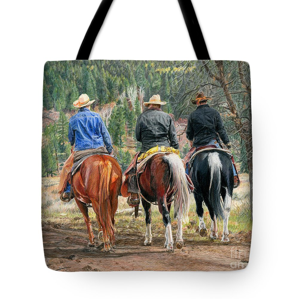 Ranch Tote Bag featuring the drawing Gathering Pine Ridge by Nichole Taylor