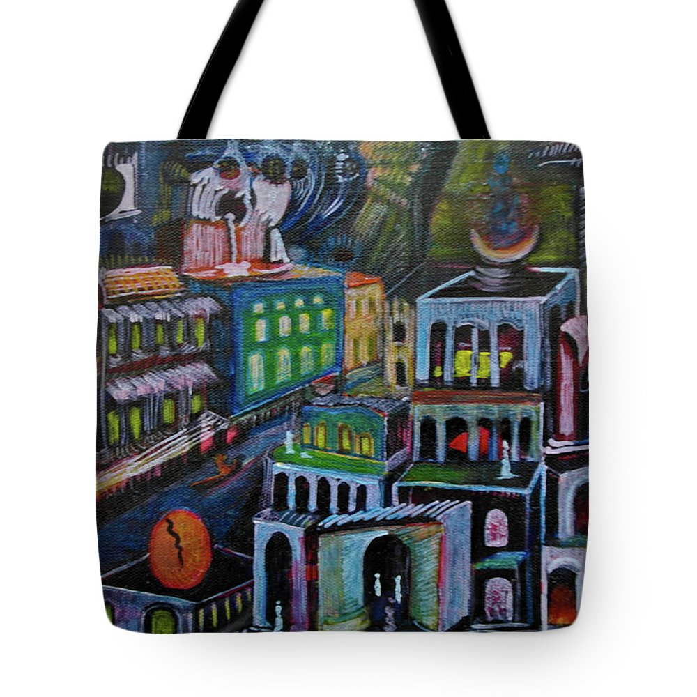 Tote Bag featuring the painting Gathering by Robert Gravelin