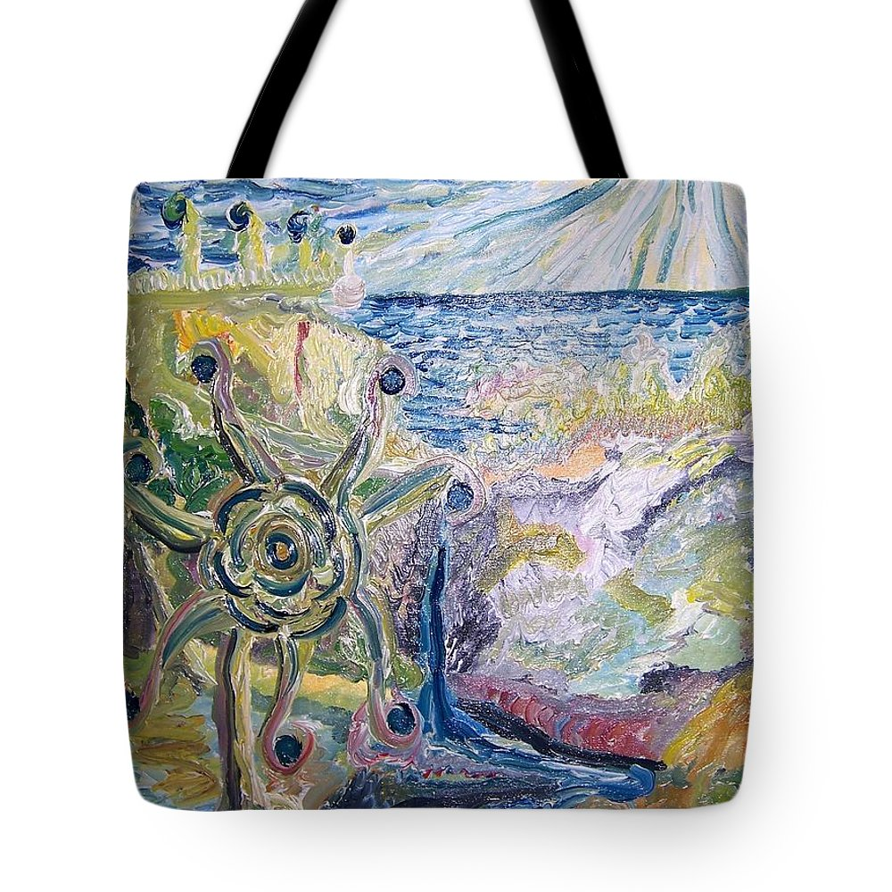 Oil Tote Bag featuring the painting Gathering Water by Timothy Michael Foley