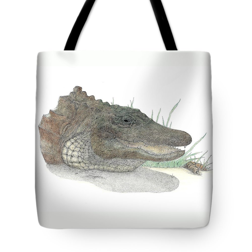 Gator Tote Bag featuring the drawing Gator by David Weaver
