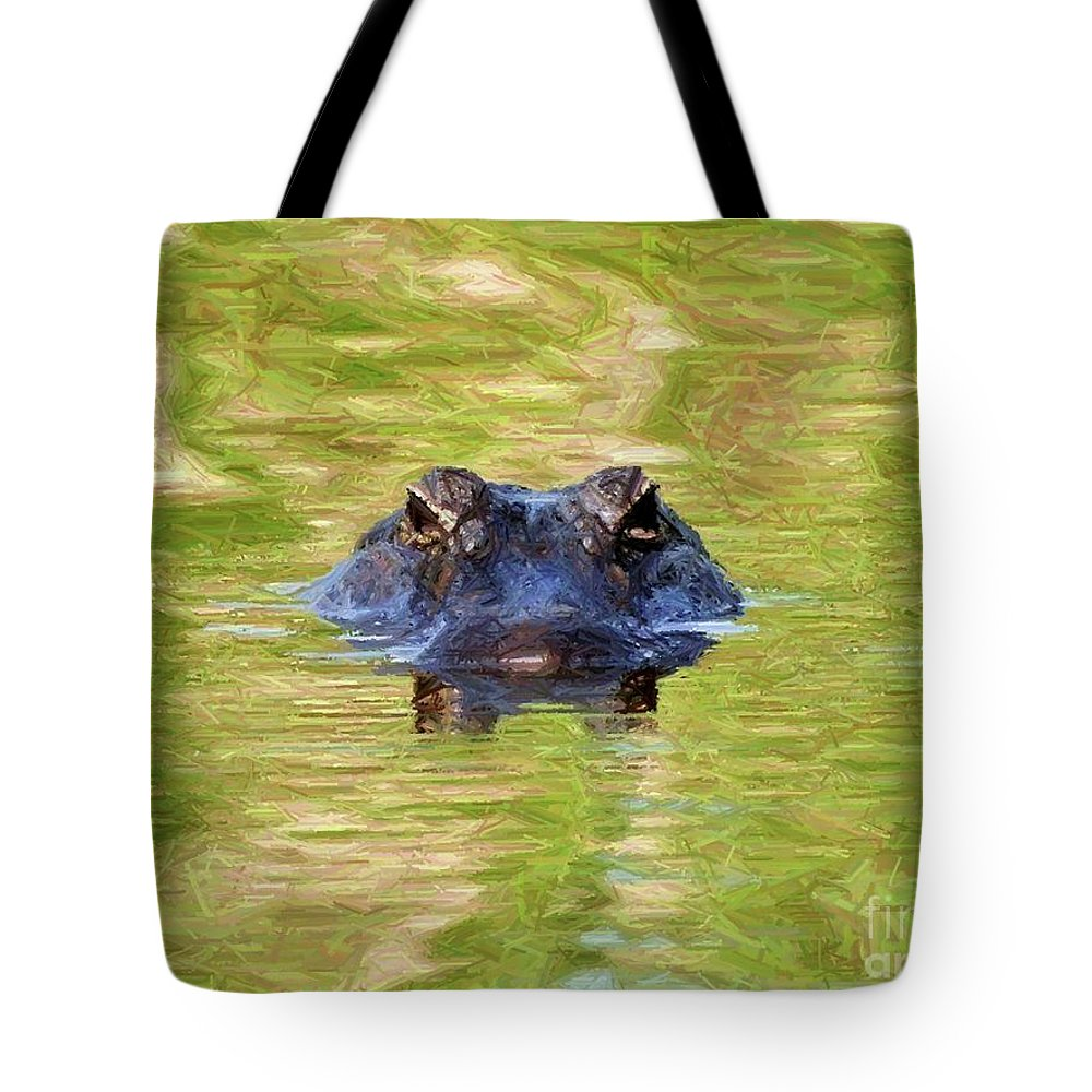 Gator Tote Bag featuring the photograph Gator In The Green - Digital Art by Al Powell Photography USA