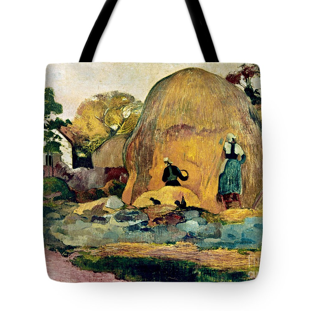 1889 Tote Bag featuring the photograph Gauguin: Haystacks, 1889 by Granger