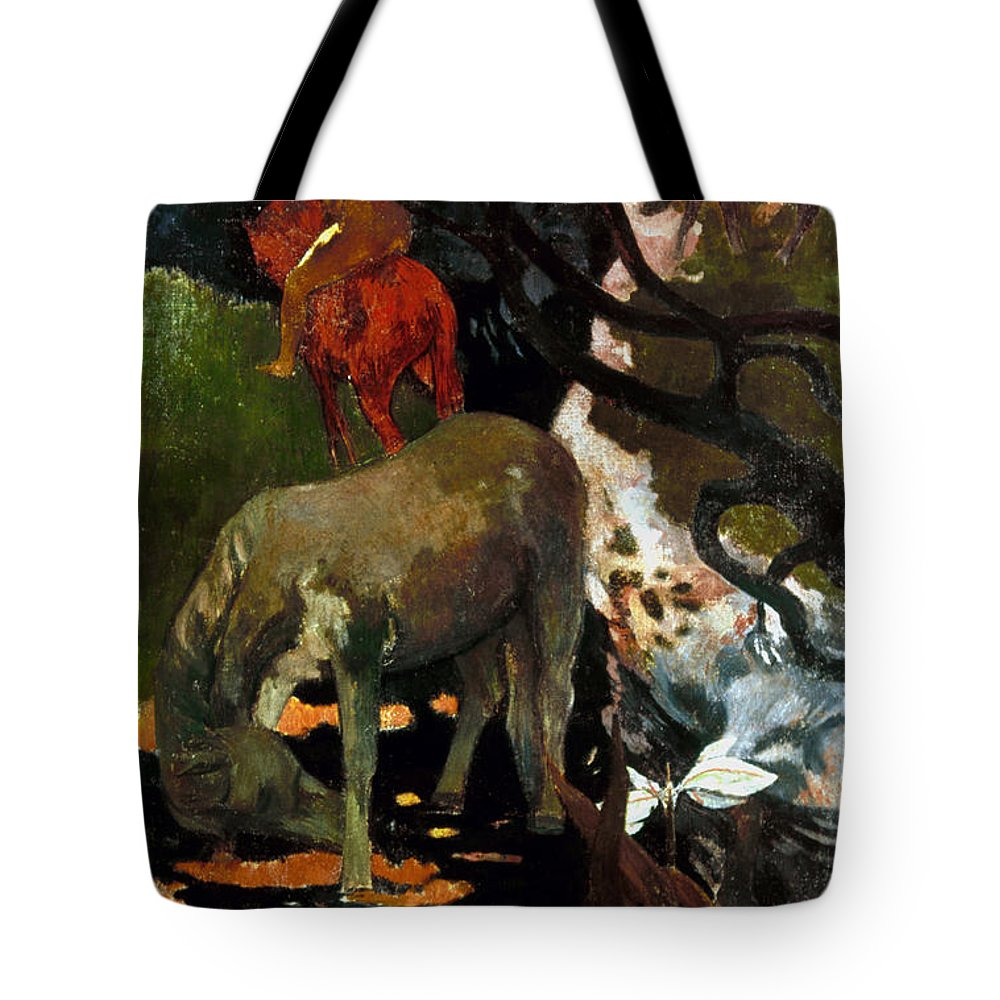 1898 Tote Bag featuring the photograph Gauguin: White Horse, 1898 by Granger