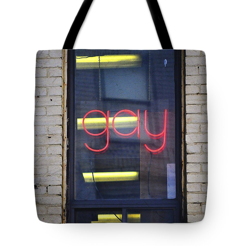 Gay Tote Bag featuring the photograph Gay Sign by Robert Skuja