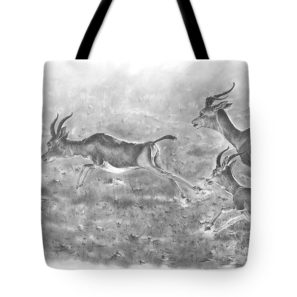 Gazelles Tote Bag featuring the drawing Gazelles by Rodolfo Cordoba