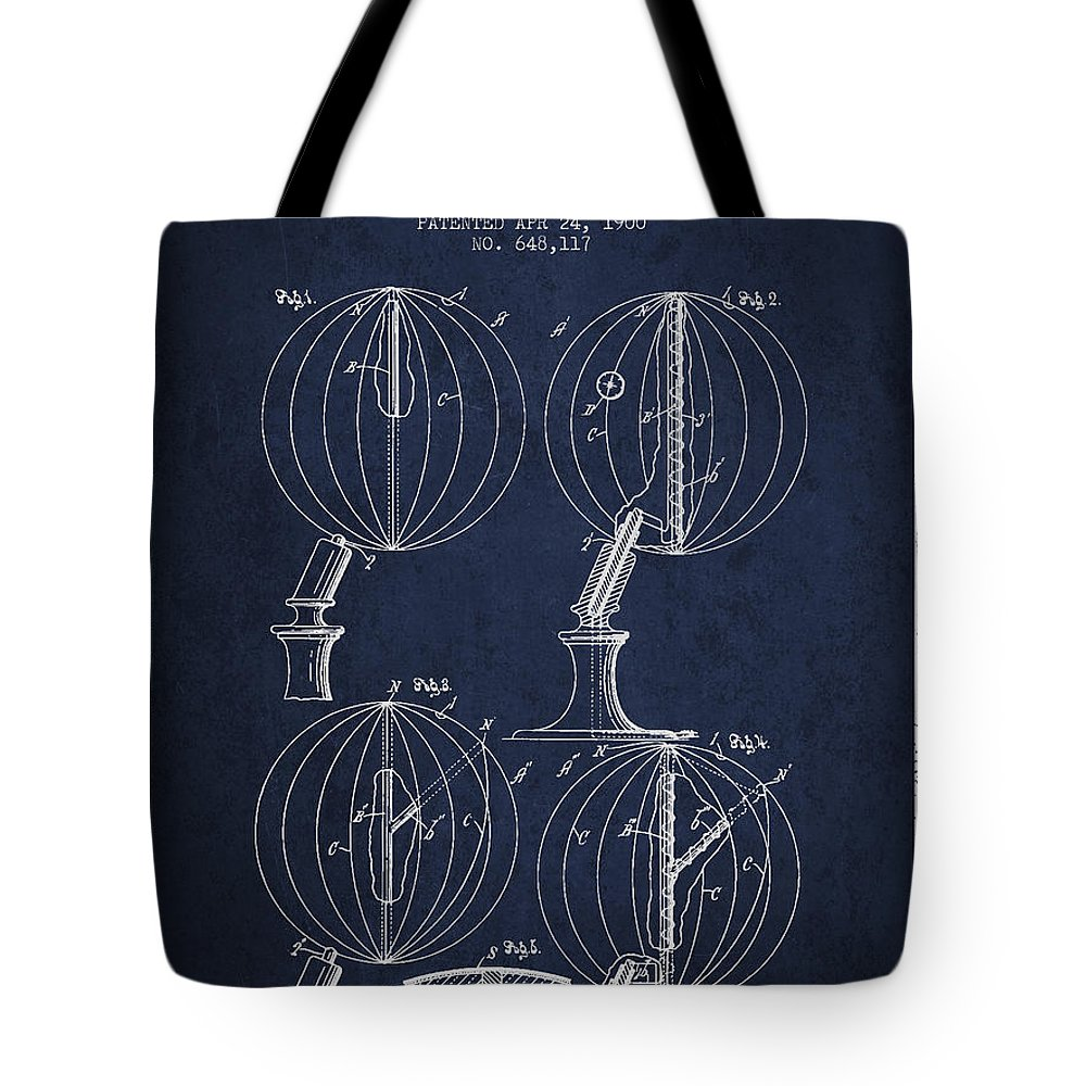 Geography Tote Bag featuring the digital art Geaographical Globe Patent From 1900 - Navy Blue by Aged Pixel