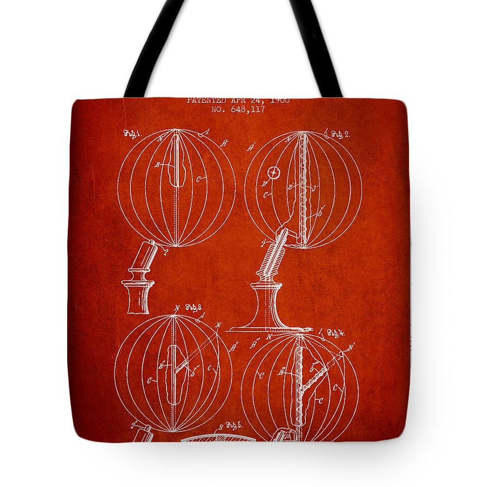 Geography Tote Bag featuring the digital art Geaographical Globe Patent From 1900 - Red by Aged Pixel