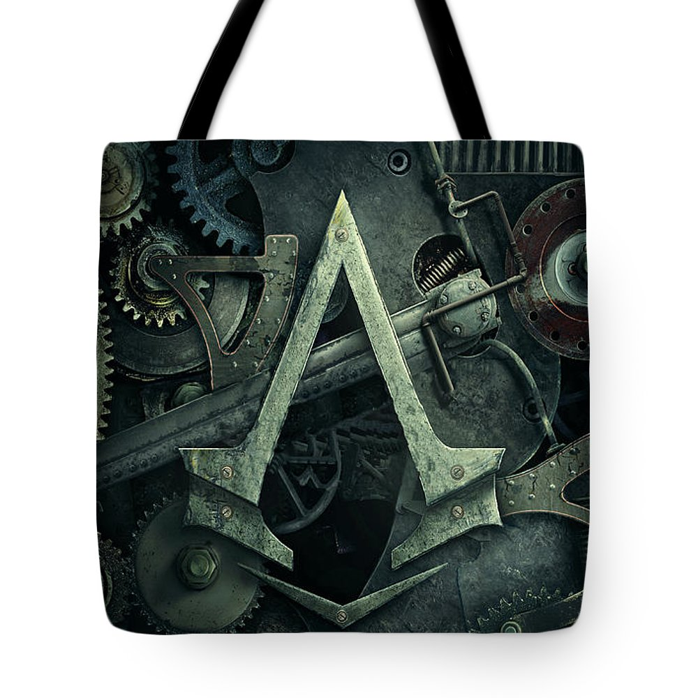 Gear Tote Bag featuring the digital art Gear Head Steampunk by Movie Poster Prints