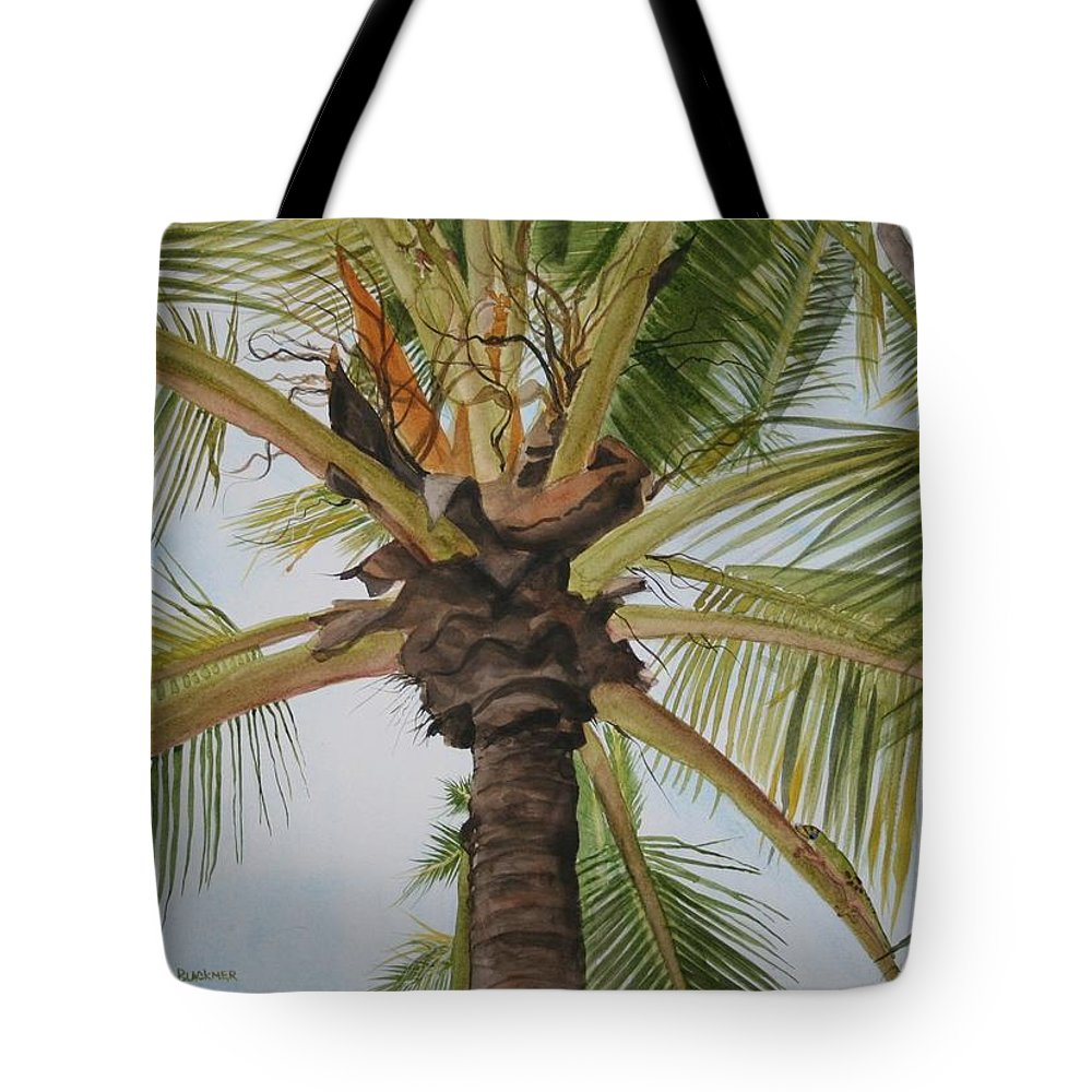Palm Tree Tote Bag featuring the painting Gecko Heaven by Jean Blackmer