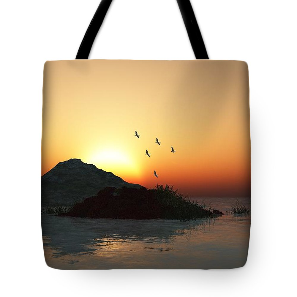 Digital Painting Tote Bag featuring the digital art Geese And Sunset by David Lane