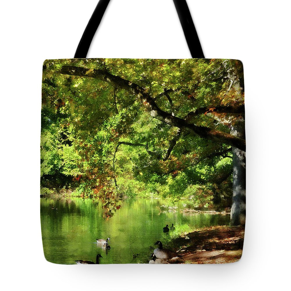 Goose Tote Bag featuring the photograph Geese By Pond In Autumn by Susan Savad